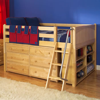 Maxtrix kids full low loft bed with 6 drawer dresser and bookcase